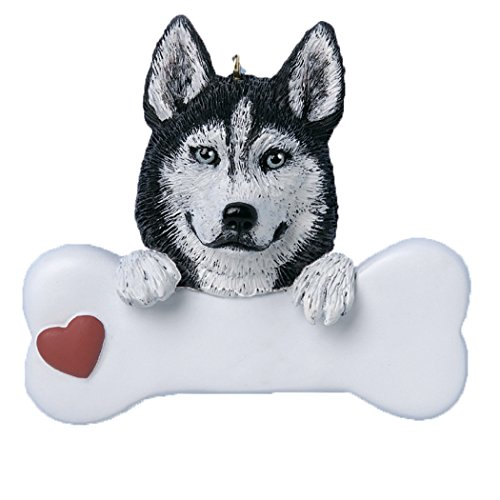 Personalized Siberian Husky Christmas Tree Ornament 2019 - Dog Paw Bone Heart Loyal Puppy Gentle Piebald Best Furever Intelligent Fluffy White Black Silver Grey - Free Customization