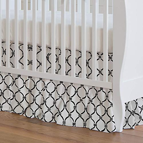 Carousel Designs Onyx Lattice Circles Crib Skirt 17-Inch Gathered 17-Inch Length - Organic 100% Cotton Crib Skirt - Made in The USA (Lattice Onyx)