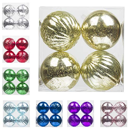 "KI Store Christmas Ball Ornaments Hanging Tree Ornament Decorations 4"" Large Shatterproof Vintage Mercury -"