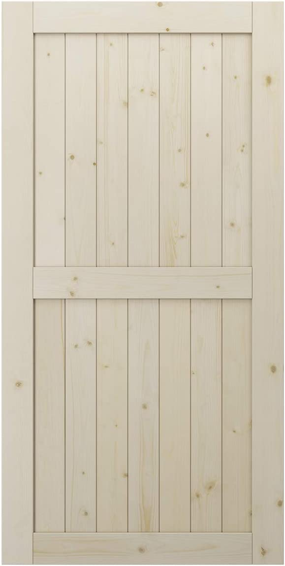SmartStandard 42in x 84in Sliding Barn Wood Door Pre-Drilled Ready to Assemble, DIY Unfinished Solid Spruce Wood Panelled Slab, Interior Single Door Only, Natural, H-Frame (Fit 7FT-8FT Rail)