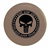 Tan - Kill Em All Let God Sort Them Out Punisher Skull Shield Military ISIS Spare Tire Cover OEM Vinyl Black 33 in