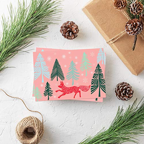 SUPHOUSE Christmas Happy Holiday Family Greeting Cards Boxed Set of 30, 6 Assorted Winter in Snow Festive Color Classy Design Blank On the Inside, Envelopes and Sealing Stickers Included Photo #5
