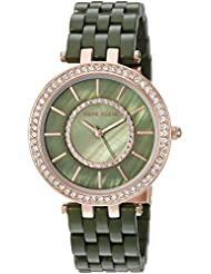 Anne Klein Womens AK/2620OLRG Swarovski Crystal Accented Rose Gold-Tone and Olive Green Resin Bracelet Watch