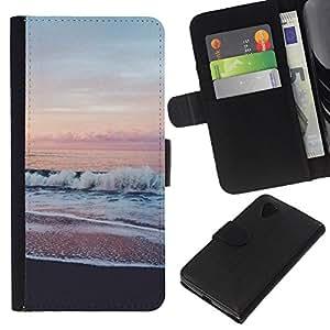 Ver Rosa Cielo Horizonte Mar Playa- la tarjeta de Crédito Slots PU Funda de cuero Monedero caso cubierta de piel Para LG Nexus 5 D820 D821