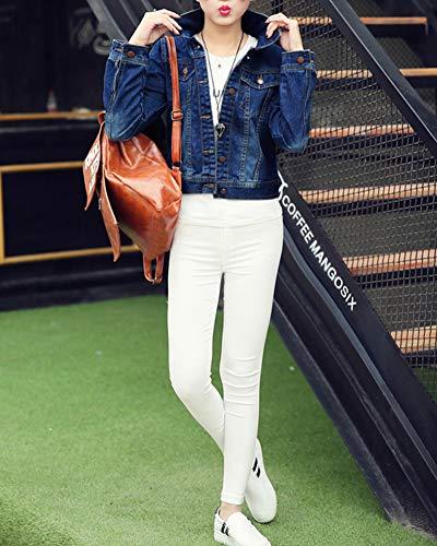 A Corto Cappotto Di Maniche Marino Giacche Donna Jeans Giacca Blu Lunghe Zongsena Pulsante wIqf8U0g