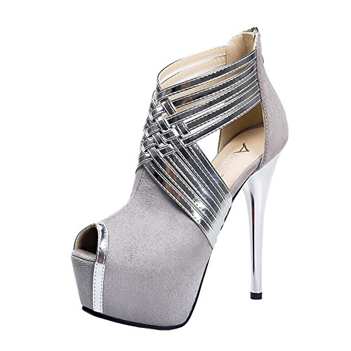 fereshte Womens Sexy Fashion Peep-Toe Stripe Sandals Super High Heels Gray UYUgLpwETV