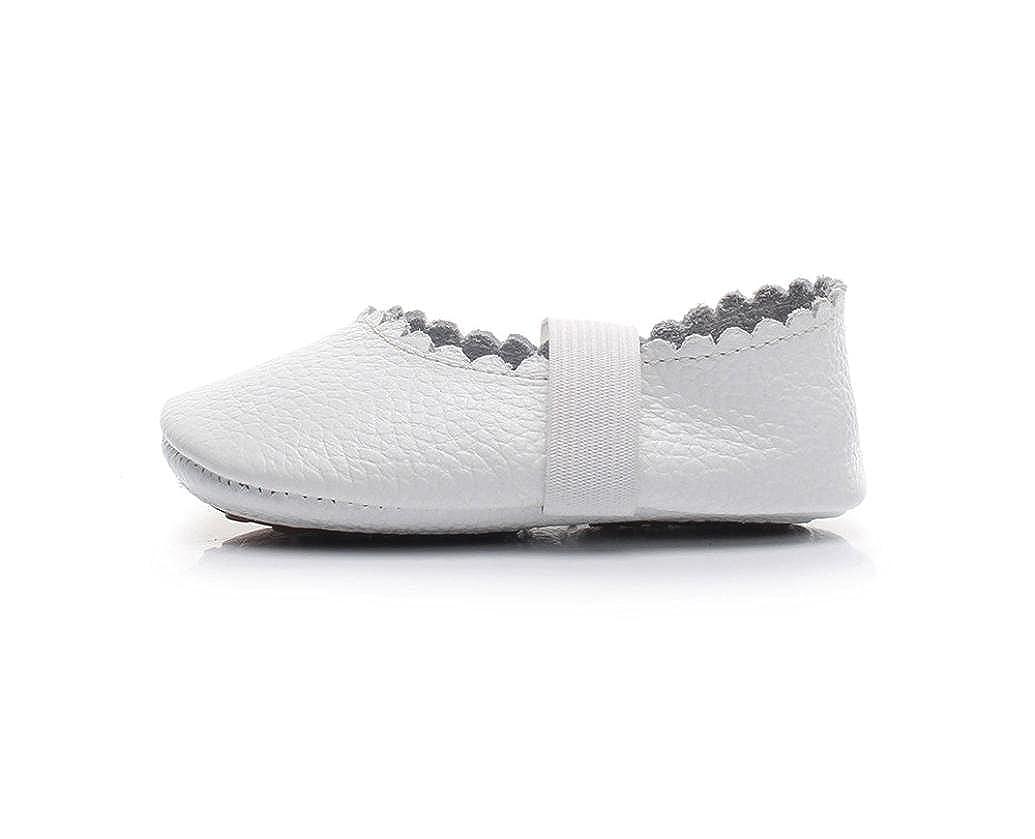 WARMSHOP Infant Girls Floral Printing Soft Sole Slip-on Elastic Band Solid Princess Ballet Dance Single Shoes