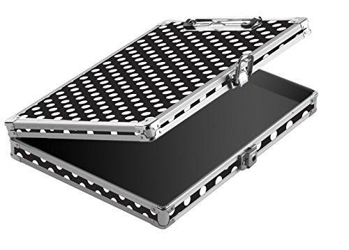 Storage Polka Dot - Vaultz Locking Storage Clipboard, 12.7 x 2.3 x 10 Inches, Black and White Polka Dot (VZ03713)