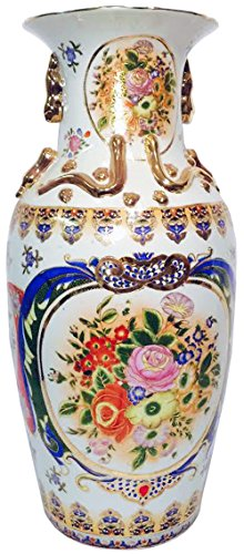 Beautiful Large White Floral Vase by Asian Zing (Image #1)