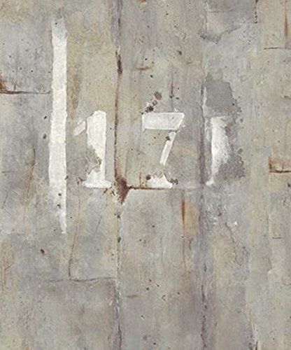 Painted Concrete - Wallpaper Modern Industrial Faux Gray Concrete Wall with White Painted Numerals