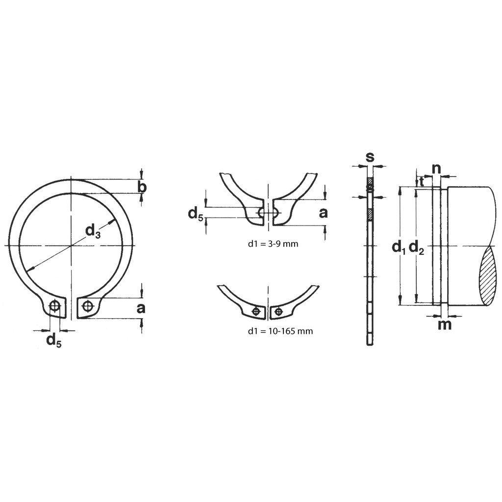 10 St/ück phosph ge/ölt Seeger-Ring original Sicherungsringe DIN 471 Typ A schwere Ausf/ührung 16X1,50 Federstahl Fst