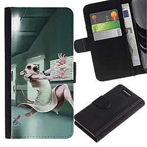 Planetar® Modelo colorido cuero carpeta tirón caso cubierta piel Holster Funda protección Para Sony Sony Xperia Z1 Compact / Z1 Mini (Not Z1) / Z1 Mini (Not Z1) ( Pruebas con animales de laboratorio lindo del conejo de conejito blanco )