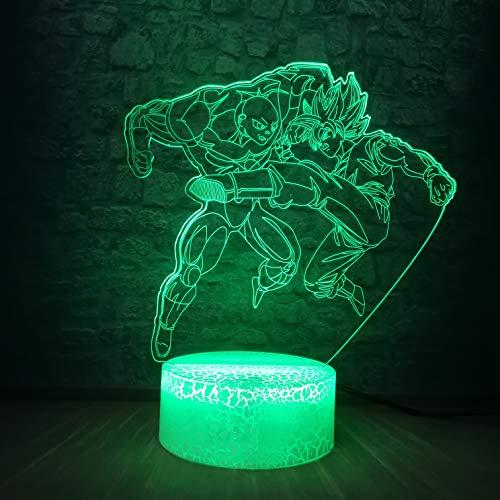 Super Saiyan God Goku Action Figures 3D LED Night Light Bedroom Sleep Light Table Lamp 7 Color Change Kid Christmas Boy Gift Toys