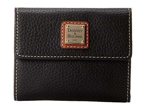 Dooney & Bourke ZR106BL Pebble Grain Small Flap Credit Card Wallet Black With Tan Trim (Dooney And Bourke Gift Card)