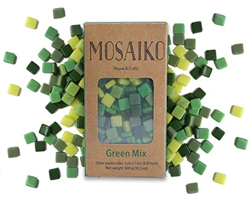 MOSAIKO Green Mix 300g (10.5oz) - Mosaic Glass Tiles for Crafts - Premium Quality Stained Square Pieces 1cm x 1cm (3/8 inch) - Perfect for Home Decor, DIY Crafts, Pixel Art, Kid Play, Adult Hobbies ()