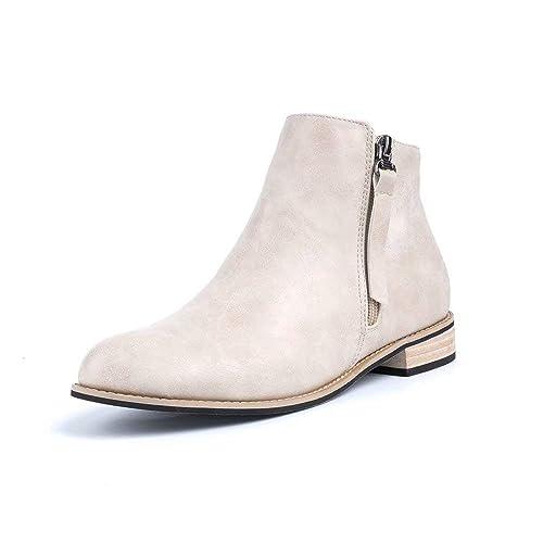 Botines Mujer Planos Tacon Cuero Botas Chelsea Ancho Ante Piel Casual Zapatos Invierno Moda Ankle Boots 2.5CM Negros Beige Marrón 35-43 EU
