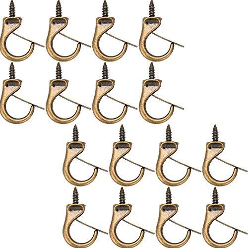 Jetec Metal Cup Hooks Dropped Ceiling Hooks Suspended Ceiling Hooks Screw Loop Hooks(16 Pieces)