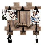 Space Art Deco Rustic Clip Frame - Fits 4x6 Photos - Three Metal Clips - Three Coat Hooks - Fence/Pallet Design - D-Ring Hangers - Wall Mount - Country Style Charm - Brown Color