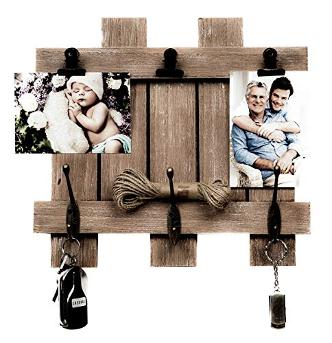 Space Art Deco Rustic Clip Frame - Fits 4x6 Photos - Three Metal Clips - Three Coat Hooks - Fence/Pallet Design - D-Ring Hangers - Wall Mount - Country Style Charm - Brown Color by Space Art Deco