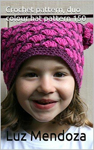 Crochet pattern, duo colour hat pattern 150 -