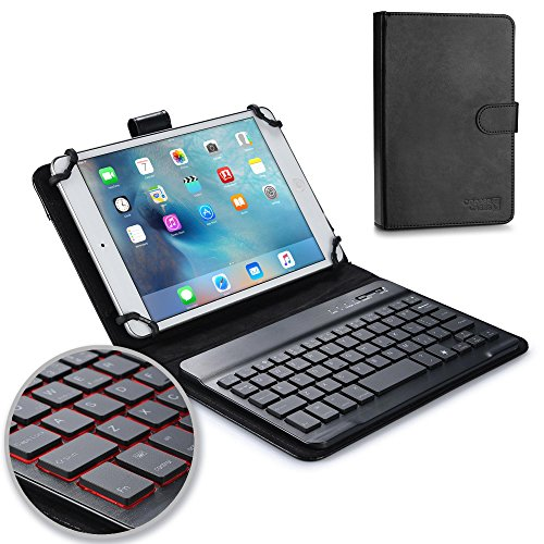 cutive Keyboard case Compatible with Google Nexus 7 | 2-in-1 Bluetooth Wireless Backlit Keyboard & Leather Folio Cover | 7 Color LED Keys (Black) ()