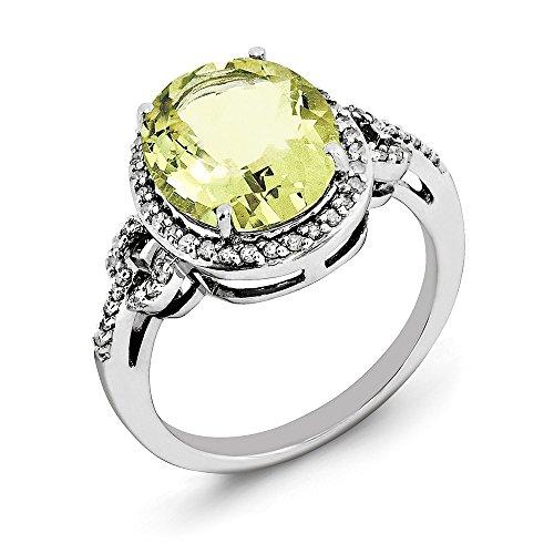 - Size 7 Solid 925 Sterling Silver Oval Diamond & Checker-Cut Lemon Simulated Quartz Ring (2mm)