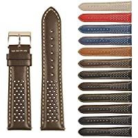 StrapsCo Perforated GT Rally Racing Leather Watch Band - Quick Release Strap - 18mm 20mm 22mm 24mm