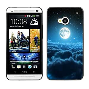 Be Good Phone Accessory // Dura Cáscara cubierta Protectora Caso Carcasa Funda de Protección para HTC One M7 // Moon Blue Clouds Space Stars Universe