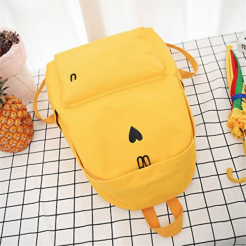 Printed Bag Bag Backpack Students Travel School Heart Laptop PPAP Girls Canvas Backpack Rucksack Yellow Yellow x0AnwCqPB