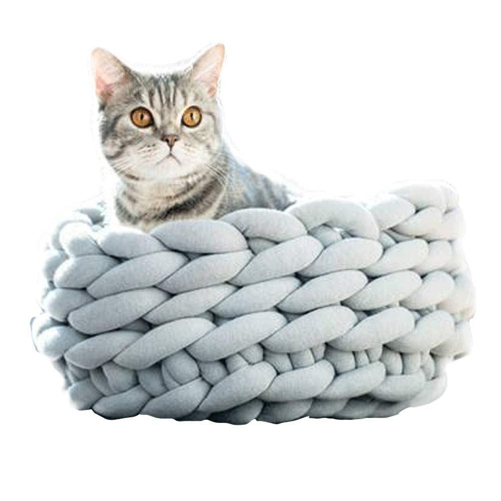 ChenCheng Cat Bed - Cotton Machine Washable Material Hand-Woven pet nest Pet Supplies (Color : Gray, Size : B) by ChenCheng