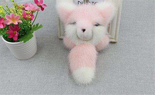 Beyoss Mink Fur Fashion Fox Key Chain Key Buckle Trinket for Womens Bag / Car Pendant (Large, Pink)