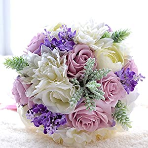 Bouquet of flowers for wedding,Bride Purple Rose Peony Holding Bouquet Tossing Flowers Orchid Wedding Bouquets 103