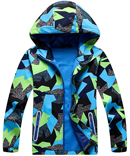 AOWKULAE Unisex Kids Big Boys & Girls Hoodie Jackets Waterproof Zip Up Teen Hooded Trench Coat & Rain Coat, Camouflage, 5T-6T(5-6 Years)=Tag 130 ()