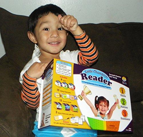 Early Reading Program for Baby, Toddler, Preschool, Kindergarten- Alphabet, Vowel Phonics & 200+ Sight Words – Little Champion Reader 9 DVD, Flash card, Book Kit