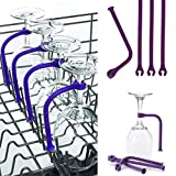 Stemware Saver, AMA(TM) Adjust Silicone Wine Glass Dishwasher Goblet Holder Rack Safer (Purple, 4)