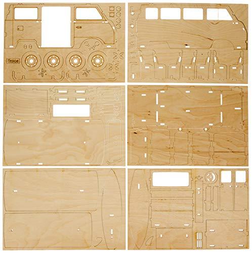 51tfmanJs9L Rayher 62879505 Holzbausatz Campingbus, FSC zertifiziert, natur, 30 x 13 x 17 cm, 77teilig, zum basteln und bemalen
