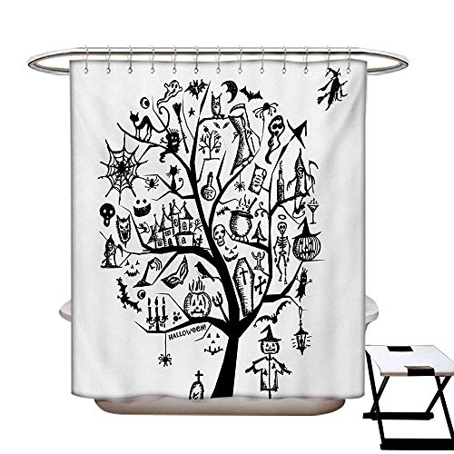 BlountDecor Halloween Shower Curtain Collection by Sketchy Spooky Tree with Spooky Design Objects and Wicked Witch Broom Abstract Patterned Shower Curtain W36 x L72 Black -