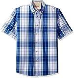 Wrangler Authentics Men's Short Sleeve Classic Plaid Shirt, Bright White, L