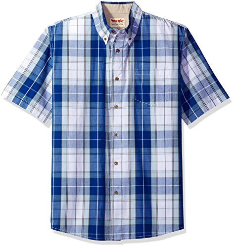 Wrangler Authentics Men's Short Sleeve Plaid Woven Shirt, Bright White, XL