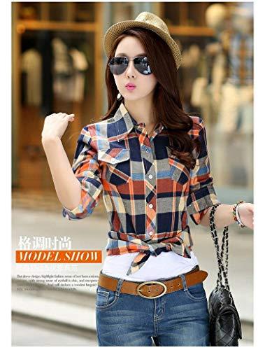 Tops Vogue Dcontract T Juane Chemisier Shirt Bleu Blouse Longues Jixin4you Femme Carreaux Manches TnOOqp