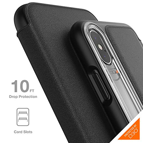 Gear4 Oxford Leather Folio Case with Advanced Impact Protection [ Protected by D3O ], Card Slots, Slim, Tough Design Compatible with iPhone X/XS - Black