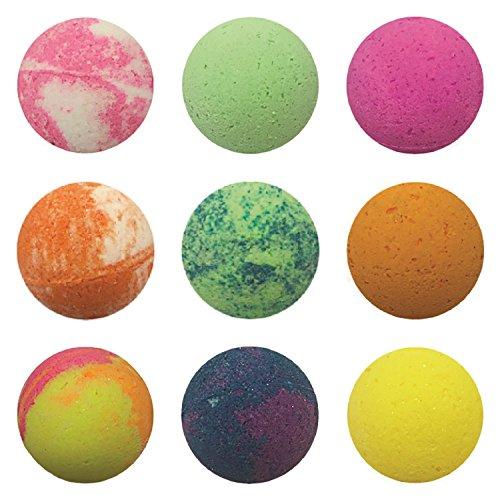Tropical Delight 9 Piece Bath Bomb Set, Large 4.8 oz, Pineapple Coconut, Tropical Citrus, Eucalyptus Mint, Mango Berry, Green Tea, Peach Smoothie, Ice Cream, Strawberry, Citrus Blend (Coconut Strawberry Tea)