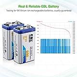 EBL 4-Pack 9V Batteries Li-ion 9 Volt