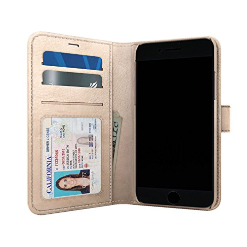 Skech Polo Book Wallet Cover, Detachable Case, Stand for iPhone 8 Plus, iPhone 7 Plus, 6s Plus - Champagne (Book Case Cover Iphone)