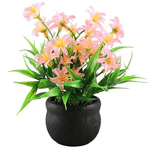 GTIDEA Artificial Potted Plants Daisy Flowers Bonsai Home Kitchen Tabletop Office Desktop Decorations in Ceramics Base ()