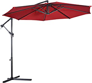 Tangkula Patio Umbrella, 10 ft Outdoor Offset Hanging Umbrella with Crank and Cross Base, 8 Steel Rips, Sturdy Frame and Adjustable Umbrellas for Garden Poolside Deck Market (Burgundy)