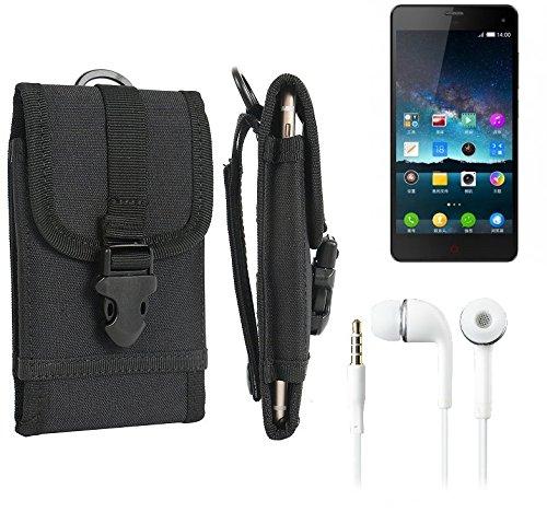 bolsa del cinturón / funda para Nubia Z7 Mini, negro + Auriculares | caja del teléfono cubierta protectora bolso - K-S-Trade (TM)