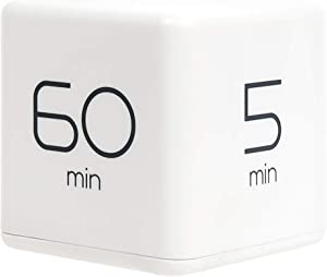 mooas Cube Timer 5, 15, 30 and 60 Minutes Time Management (White), Kitchen Timer, Kids Timer, Workout Timer