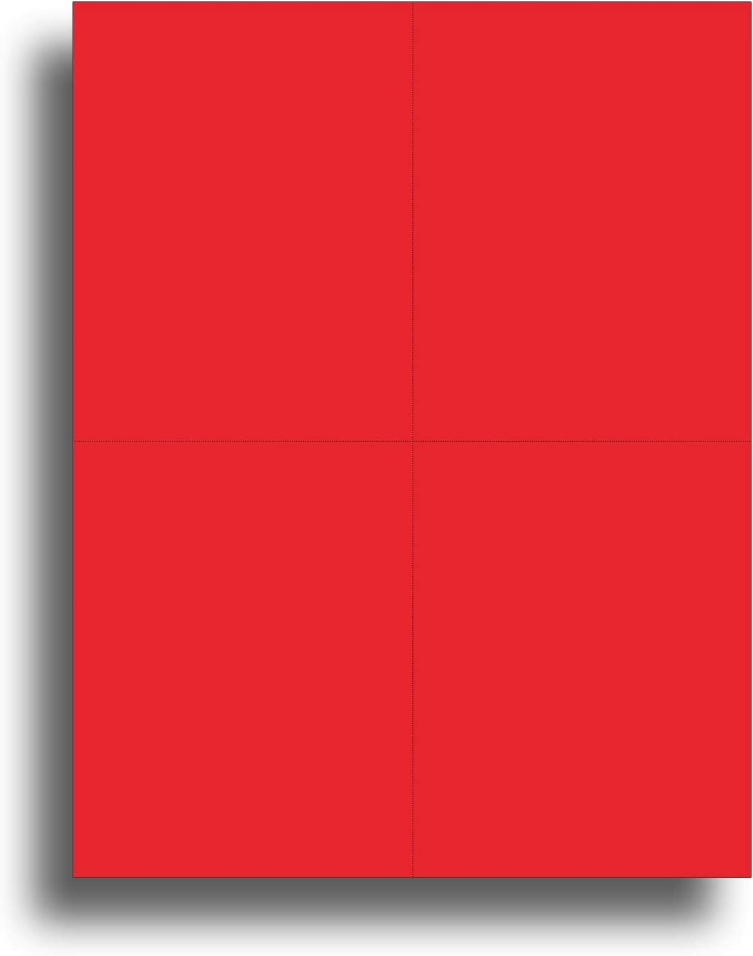 Blank Colored 4-up Postcard Paper by Desktop Publishing Supplies - 25 Sheets / 100 Postcards Pack - Printable with Laser or Inkjet Printer - Plain Matte Cardstock (Holiday Red)