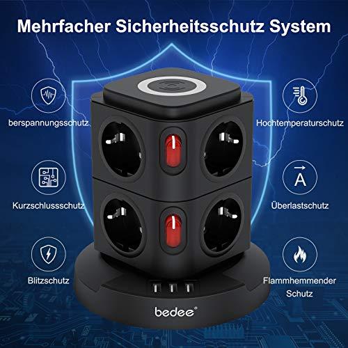 bedee Mehrfachsteckdose mit 7,5 W / 10 W Induktive Ladestation, 8 Fach Steckdosenleiste (2500 W / 10 A) mit 3 USB Verteiler Steckdosenleiste Überspannungsschutz und Schalter für Zuhause Büro,Schwarz